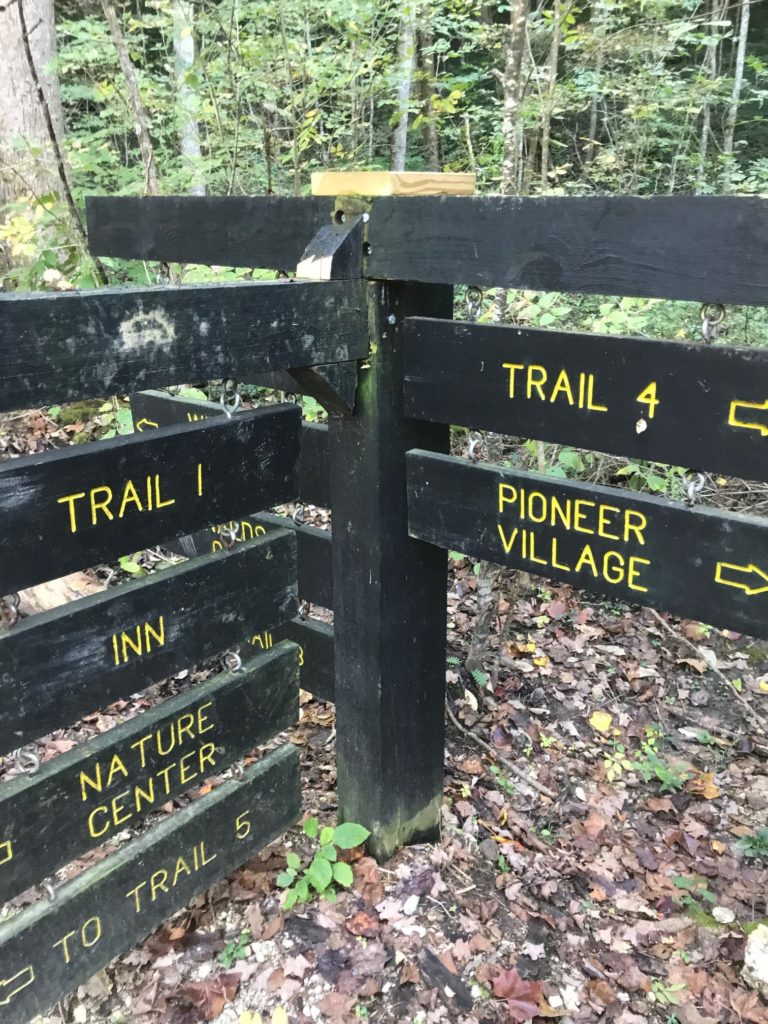 Trail sign repair temporary repair - Spring Mill State Park